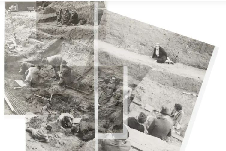 Collage of photos the 1939 of Sutton Hoo excavation